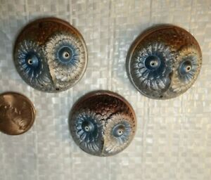 3  Vintage Czech Art Deco   Glass Jewelry piece  OWL BIRD    Design Cabachons