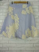 Review A-Line Skirt Purple, White Lace Floral Embroider Print Sz 10