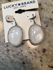 Lucky Brand Silver Tone And Imitation Pearl Hanging Earrings