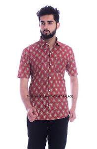 Men Casual Cotton Tops Shirt Short Sleeve Printed Shirt Regular Fit Maroon Color