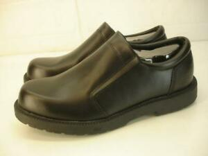 Men's 9.5 M 76083 Skechers Work Shoes Ivy Leather Slip-On Black Leather Loafers