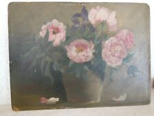 Tableau ancien huile Nature Morte aux fleurs dans un vase,  fin XIXème 1900