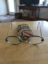 Vtg Steampunk Oval Glass Lens, Metal Rod Frame Childs? W/Colorful Beaded Case.