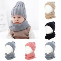 Winter Toddler Kids Knitted Baby Winter Hat Beanie Hat&Scarf Set Knit Hat Scarf
