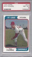 1974 Topps baseball card #417 Rich Folkers, St. Louis Cardinals PSA 8 NMMT