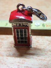 Vecchio portachiavi ciondolo in metallo CABINA TELEFONICA ROSSA inglese Londra