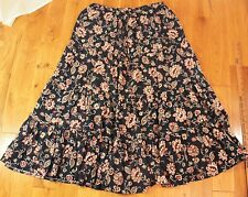 Navy Blue Floral paisley skirt Size 8 10 tiered boho long maxi high waist full