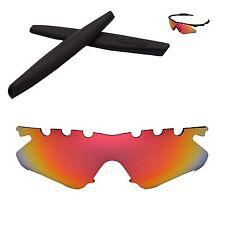 WL Polarized Fire Red Vented Lenses + Black Earsocks For Oakley M Frame Heater