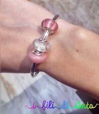 offerta bellissimo bracciale rigido, bangle, perle, beads, vetro, rosa, candy