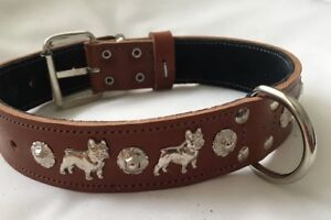 FRENCH BULLDOG 1 1/4 INCH WIDE  DOG COLLAR, REAL LEATHER SILVER  - 32MMWIDE