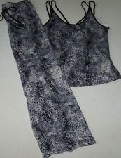 NWT In Bloom by Jonquil Gray/Black OMBRE LEOPARD Slinky Knit Pajama/Lounge Set L