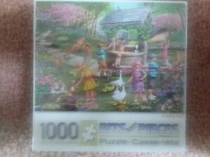 """New Sealed Bits And Pieces """"Wishing Well"""" 1000 Piece Jigsaw Puzzle 20"""" x 27"""""""