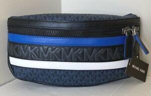 New Michael Kors men's Belt bag Signature PVC with Leather Admiral