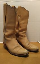 Frye Men's Cowboy Boots High Calf Western Beige Leather 2308  9.5 D Distressed