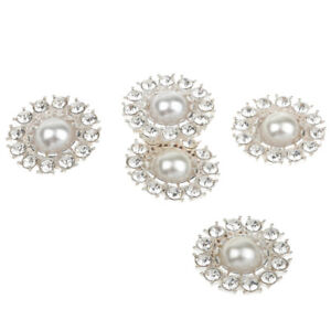 5Pcs Pearl Flower Rhinstone Shank Buttons Flatback Craft Embellishment 27mm