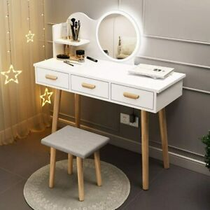 Vanity Set with Round Lighted Mirror Makeup Dressing Table w Dimming LED Light