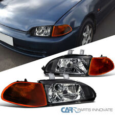 Fit 92-95 Honda Civic 4Dr Sedan Black Headlights+Dark Amber Corner Lamps Pair