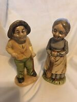 """Vintage Ceramic Old Man and Woman Figurines Soft Details 2 3/4"""" Base 6"""" Tall Set"""