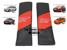 "2x Seat Belt Covers Pads Black & Orange Leather ""ST"" Edition For Ford Focus"