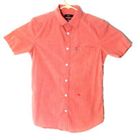 Diesel Slim Fit Button Up Shirt Mens Medium Salmon Pocket Embroidered Pleated 78