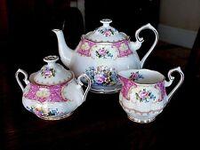 ROYAL ALBERT China LADY CARLYLE Tea Pot, Sugar And Creamer Set