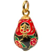 Russian Faberge Egg Pendant Made with Swarovski Crystals in Russia Nesting Doll