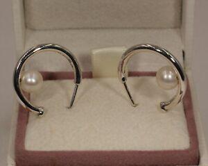 AUTHENTIC PANDORA Contemporary Pearl Hoop Earrings,  297528P  #1607