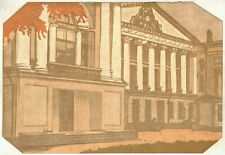 Vintage Art PALACE IN OSTANKINO AT THE POND by I.Pavlov linocut of 1917