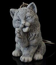 Cat Kitten Marble Figurine Keychain Keyring Pendant Russian Art Stone Sculpture
