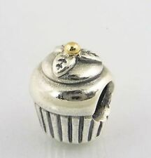 Pandora Charm Cupcake, Sterling Silver With 14K Gold 925 ALE Authentic 790417
