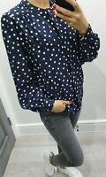 Windsmoor blue polka dot long sleeve button up shirt size UK 12