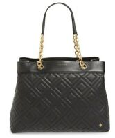 Tory Burch 41885 Fleming Triple Compartment Black Leather Tote NWOT MSRP$498