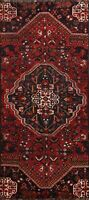 Antique Tribal Geometric Abadeh Wool Runner Rug Traditional Hand-knotted 3x8 ft
