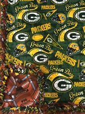 NFL Green Bay Packers Handmade Fleece Tie Blanket w Footballs | LARGE 55x65