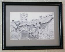 Original Charcoal Drawing Souvenir Church Isle of Wight England by Stuart Jones
