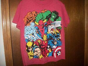 Marvel Heroes Hulk Surfer Thing Thor Spiderman  Graphic  tshirt sz L 10-12 NWT
