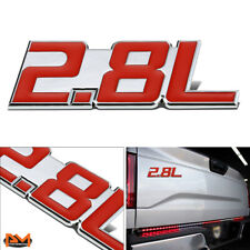 """2.8L"" Polished Metal 3D Decal Red&Silver Emblem For Mercedes/GMC/Chevrolet"
