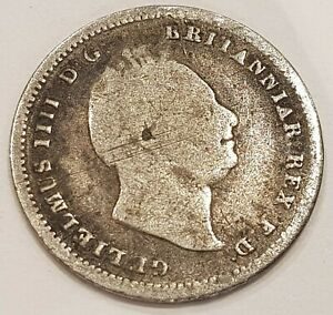 *Scarce* 1836 William IIII Three Pence Silver Coin L1