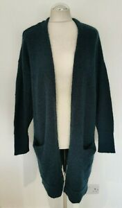 NEW SELECTED FEMME LIVANA TEAL WOOL, MOHAIR LONG OPEN CARDIGAN. MEDIUM