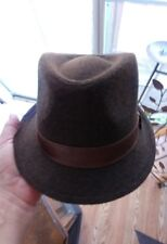 MENS DANIEL CREMIEUX BROWN TWILL FEDORA L/XL HAT NWT