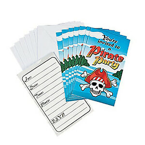 Pirate Party Invitations Skull Crossbones Pirates Pack of 8 Invites Free Postage