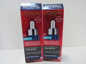 2 L'Oréal Paris Revitalift Derm Intensives Night Serum, 0.3% Pure Retinol- 1.0oz