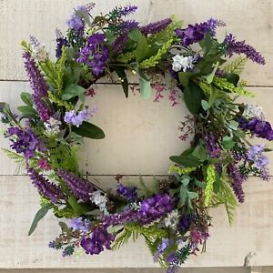 55cm Purple Artificial Flower Easter Wreath Gisela Graham Country Cottage Garden