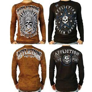 AFFLICTION XXXL GARAGE JUNKIE SKULL NEW Long Sleeve T shirt NEW 3XL A12063 Tee