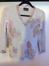 NEW PRINCIPLES LADIES PINK MIX EMBROIDERED FEATURES JUMPER SIZE 12 RRP £40.00