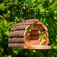 More details for hanging wooden squirrel feeder house with feeding platform hotel home shelter