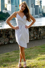 Stripes Asymmetrical Hem Dresses Short