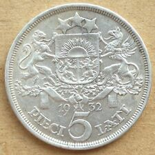 More details for 1932 latvia silver 5 lati.