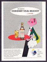 1944 Waiter Serving Drinks art by Paul Rand Coronet VSQ Brandy vintage print ad