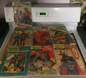 Classics Illustrated Comic Lot; Kidnapped, Macbeth, Robinson Crusoe, Crime,++